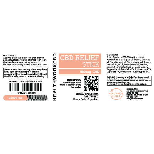 CBD relief stick label
